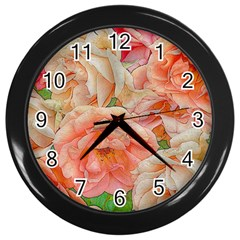 Great Garden Roses, Orange Wall Clocks (black) by MoreColorsinLife