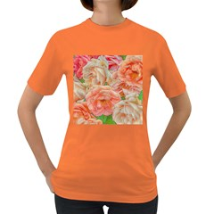 Great Garden Roses, Orange Women s Dark T Shirt by MoreColorsinLife