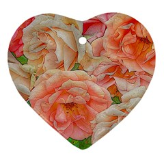 Great Garden Roses, Orange Heart Ornament (2 Sides)