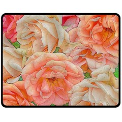 Great Garden Roses, Orange Double Sided Fleece Blanket (medium)  by MoreColorsinLife
