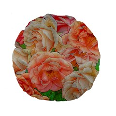 Great Garden Roses, Orange Standard 15  Premium Flano Round Cushions