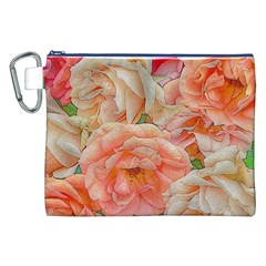 Great Garden Roses, Orange Canvas Cosmetic Bag (xxl)
