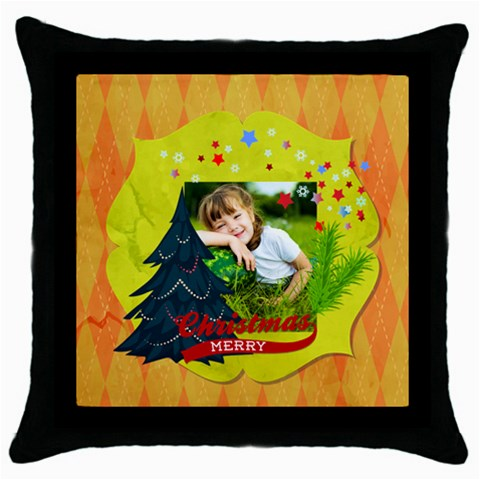 Xmas By Xmas   Throw Pillow Case (black)   Sxnai3w9bll1   Www Artscow Com Front