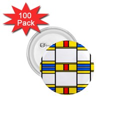 Colorful Squares And Rectangles Pattern 1 75  Button (100 Pack)  by LalyLauraFLM
