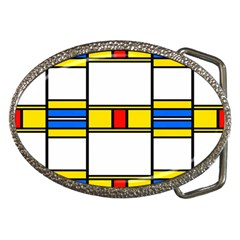 Colorful squares and rectangles pattern Belt Buckle by LalyLauraFLM