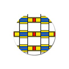 Colorful Squares And Rectangles Pattern Magnet 3  (round) by LalyLauraFLM