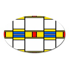 Colorful Squares And Rectangles Pattern Magnet (oval) by LalyLauraFLM