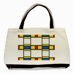 Colorful Squares And Rectangles Pattern Basic Tote Bag by LalyLauraFLM