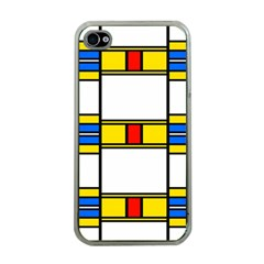 Colorful Squares And Rectangles Pattern Apple Iphone 4 Case (clear) by LalyLauraFLM