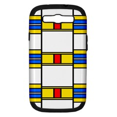 Colorful Squares And Rectangles Pattern Samsung Galaxy S Iii Hardshell Case (pc+silicone) by LalyLauraFLM