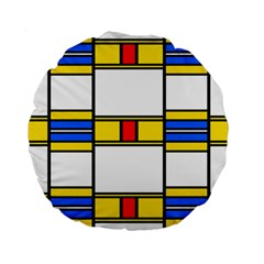 Colorful Squares And Rectangles Pattern Standard 15  Premium Round Cushion  by LalyLauraFLM