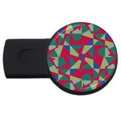 Shapes In Squares Pattern Usb Flash Drive Round (4 Gb) by LalyLauraFLM