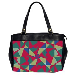 Shapes In Squares Pattern Oversize Office Handbag (2 Sides) by LalyLauraFLM