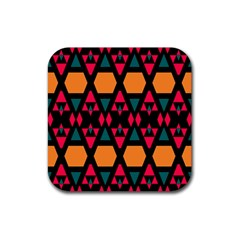 Rhombus And Other Shapes Pattern Rubber Coaster (square) by LalyLauraFLM
