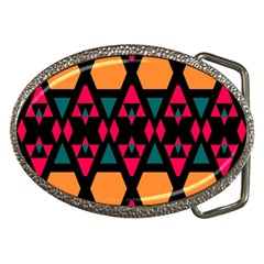 Rhombus and other shapes pattern Belt Buckle by LalyLauraFLM