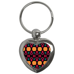 Rhombus And Other Shapes Pattern Key Chain (heart) by LalyLauraFLM