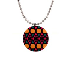 Rhombus And Other Shapes Pattern 1  Button Necklace by LalyLauraFLM
