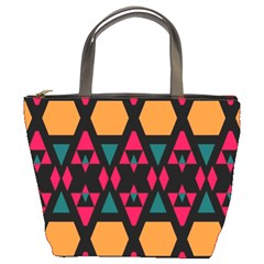 Rhombus And Other Shapes Pattern Bucket Bag by LalyLauraFLM
