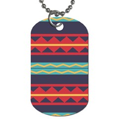 Rhombus And Waves Chains Pattern Dog Tag (one Side) by LalyLauraFLM