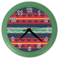 Rhombus And Waves Chains Pattern Color Wall Clock by LalyLauraFLM