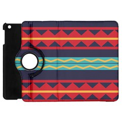 Rhombus And Waves Chains Pattern Apple Ipad Mini Flip 360 Case by LalyLauraFLM