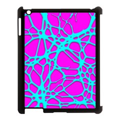 Hot Web Turqoise Pink Apple Ipad 3/4 Case (black) by ImpressiveMoments