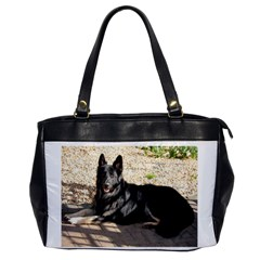 Black German Shepherd Laying Office Handbags by TailWags