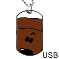 Peeping Chocolate Poodle Dog Tag USB Flash (Two Sides)  by TailWags