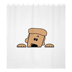Peeping Peach Poodle Shower Curtain 66  x 72  (Large)  by TailWags