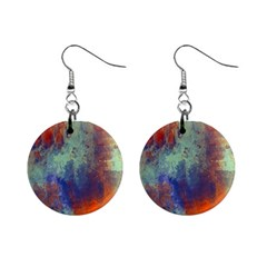 Abstract In Green, Orange, And Blue Mini Button Earrings by theunrulyartist