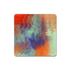 Abstract In Green, Orange, And Blue Square Magnet by theunrulyartist