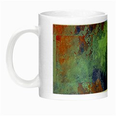 Abstract In Green, Orange, And Blue Night Luminous Mugs by theunrulyartist