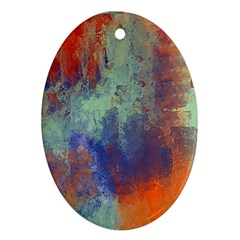 Abstract In Green, Orange, And Blue Oval Ornament (two Sides) by digitaldivadesigns