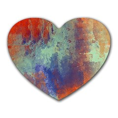 Abstract In Green, Orange, And Blue Heart Mousepads by theunrulyartist