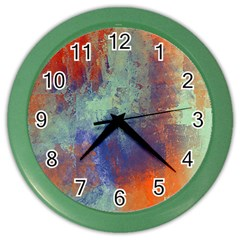 Abstract In Green, Orange, And Blue Color Wall Clocks by theunrulyartist