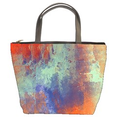 Abstract In Green, Orange, And Blue Bucket Bags by theunrulyartist