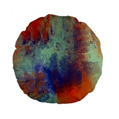 Abstract In Green, Orange, And Blue Standard 15  Premium Round Cushions by theunrulyartist
