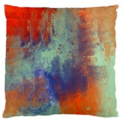 Abstract In Green, Orange, And Blue Large Flano Cushion Cases (one Side)  by theunrulyartist