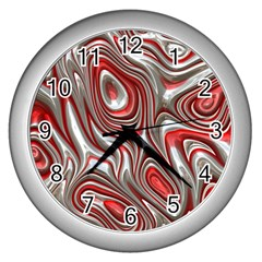 Metal Art 9 Red Wall Clocks (silver)  by MoreColorsinLife