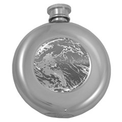 Metal Art Swirl Silver Round Hip Flask (5 oz) by MoreColorsinLife