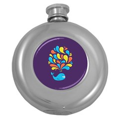 Colorful Happy Whale Round Hip Flask (5 Oz)