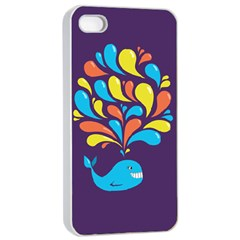 Colorful Happy Whale Apple Iphone 4/4s Seamless Case (white) by CreaturesStore