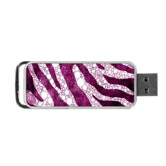 Purple Zebra Print Bling Pattern  Portable Usb Flash (one Side)