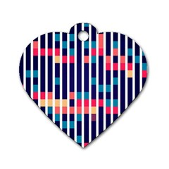 Stripes And Rectangles Pattern Dog Tag Heart (one Side) by LalyLauraFLM