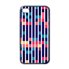 Stripes And Rectangles Pattern Apple Iphone 4 Case (black) by LalyLauraFLM