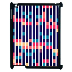 Stripes And Rectangles Pattern Apple Ipad 2 Case (black) by LalyLauraFLM