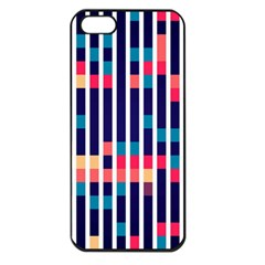 Stripes And Rectangles Pattern Apple Iphone 5 Seamless Case (black) by LalyLauraFLM
