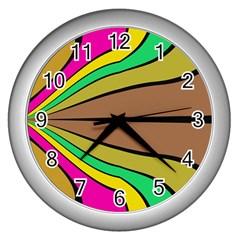 Symmetric Waves Wall Clock (silver)