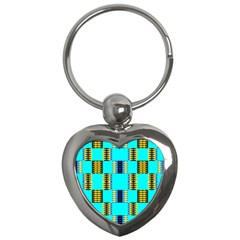 Triangles In Rectangles Pattern Key Chain (heart) by LalyLauraFLM
