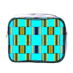 Triangles In Rectangles Pattern Mini Toiletries Bag (one Side) by LalyLauraFLM